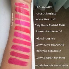 Hot Pink/Magenta Lipsticks! NYX Cupcake, Revlon Vivacious, Wet n Wild Pinkerbell, Maybelline Fuchsia Flash, Rimmel Kate Moss 06, Milani Rose Hip, Wet n Wild Don't Blink Pink, Covergirl Spellbound, Wet n Wild Smokin Hot Pink, Maybelline Fifth Ave Fuchsia. Like what you see? Follow my instagram @mellyfmakeup for more!
