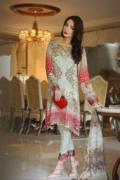 Grey & Red color Camric Cotton fabric Lawn Suit -Lawn Suits, Pakistani Lawn Suits, Anarkali suit, Vardhita sarees, Designer Suit