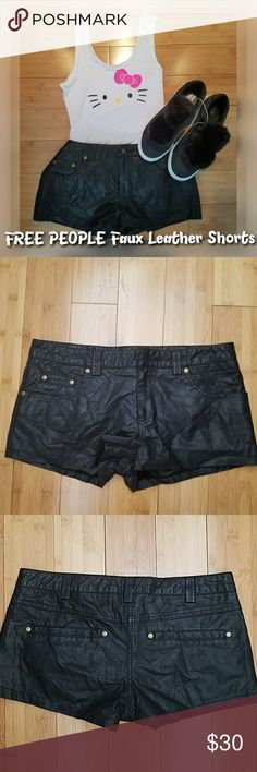 """FREE PEOPLE Black Faux Leather Short Shorts LOVELY & SEXY FREE PEOPLE faux leather shorts are in great condition. No heavy signs of wear.   Soft polyester material   Perfect for that tiny/petite kinda fashion gal  Both itemsin photo are listed in my closet, as well. Bundle for less   Approx measurements..  Size 4 Waist 30"""" Hips 36"""" Length 9""""  I have more datling and FREE PEOPLE clothing items in my closet.    STOP by my closet for more great fashion items and bundle for less Free People…"""