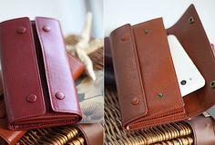 Handmade fashion red purple orange leather long iphone bifold wallet f   EverHandmade