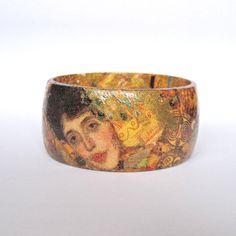 Handmade Bracelet Inspired by Gustav Klimt. Wooden Decoupaged Bangle with Gold Flakes