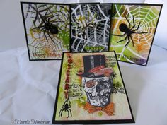 Karenliz Henderson for TCW  using a Spider Web stencil to make a halloween card; Oct 2015  #halloween #thecraftersworshop #timholtz