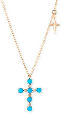 Stevie Wren 14k Turquoise & Diamond Cross Pendant Necklace Tassel Necklace, Pendant Necklace, Rose Gold Chain, Diamond Cross, Star Shape, Cross Pendant, Neiman Marcus, Dangles, Turquoise