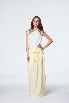 Letnia żółta sukienka Skirts, Fashion, Moda, Fashion Styles, Skirt, Fashion Illustrations, Gowns, Skirt Outfits