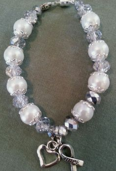 Large White pearl lung cancer awareness bracelet #Jewelry #Deal #Fashion