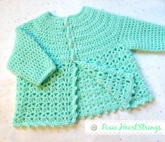 Crochet Baby Sweater by Pixie HeartStrings... Link to FREE pattern on page...