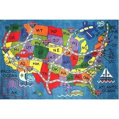 The Travel Fun Rug from Fun Rugs lets your child imagine a drive across the country with this fun and vibrant map rug. Durably constructed from nylon with an extra high pile, this colorful rug will bring fun to any child's bedroom or playroom. Impression 3d, Map Rug, Kids Area Rugs, Maps For Kids, Koh Tao, Travel Maps, Vizsla, Blue Accents, Children
