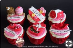 Valentine cupcakes for a special person Fondant Cupcakes, Love Cupcakes, Fondant Toppers, Cupcake Cakes, Glitter Cupcakes, Cupcake Ideas, Valentines Cakes And Cupcakes, Valentines Day Cakes, Valentine Cookies