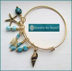 Teal Gold Bangle Bracelet Her Beach Bracelet by JewelryByScotti