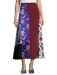 Diane von Furstenberg Bias Draped Silk Midi Skirt