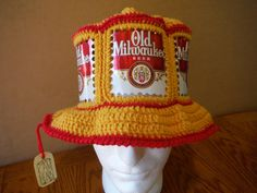 Great #canhead at https://www.etsy.com/listing/221888455/new-crocheted-old-milwaukee-beer-can-hat