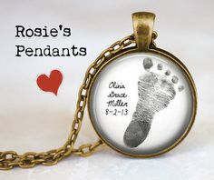Personalized Custom Mother's Necklace - Your Own Baby's Footprint Pendant Necklace - Memory Necklace  - Footprint Jewelry on Etsy, $29.25