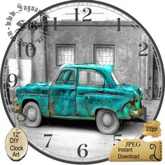 "Old Teal Green Car Art --DIY Digital Collage - 12.5"" DIA for 12"" Clock Face Art - Crafts Projects by CocoPuffsDesigns on Etsy"