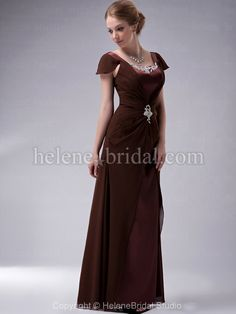 Sheath / Column Scoop Off the Shoulder Long / Floor-Length Chiffon Elastic Silk-like Satin Mother of The Bride Dress - MD2538 - US$ 119.99