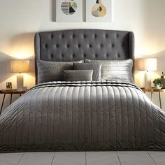 Hotel Collection Grey Velvet Bedspread by Kaleidoscope Velvet Bedspread, Grey Comforter Sets, Luxury Bedspreads, Feather Pillows, Cotton Sheets, Metallic Colors, Bedding Collections, Bed Spreads