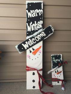 Large snowman w little snowman . Hand painted