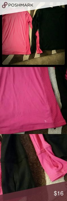 DANSKIN NOW ACTIVE SHIRTS BUNDLE 2 shirts Pink is BNWT fitted, pic 2 shows the netted sides  Pic 3 shows the finger holes that are perfect to cover your hands! The black one has the netting at the top shoulders. Tops Tees - Long Sleeve