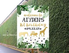 DIGITAL FILE Birthday Party, Baby Shower Welcome Sign, Door Tag, Safari Animal Theme, Wild One Birthday Decor, Gold Safari Party, Safari by inkmebeautiful on Etsy https://www.etsy.com/listing/562394933/digital-file-birthday-party-baby-shower