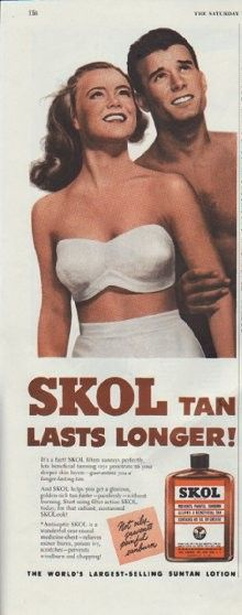 """Description: 1948 SKOL SUNTAN LOTION vintage print advertisement """"Lasts Longer"""" -- SKOL Tan Lasts Longer! The World's Largest-Selling Suntan Lotion -- Size: The dimensions of the half-page advertisement are approximately 5.5 inches x 13.5 inches (14cm x 34cm). Condition: This original vintage advertisement is in Very Good Condition unless otherwise noted."""