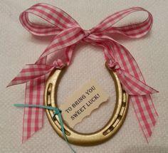 Horseshoe w Pink & White Gingham Bowhorse shoe by LuckyPonyShop