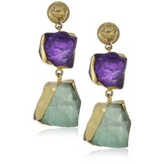 "Zariin ""The Spirited Two"" Amethyst and Fluorite Gold Earrings - designer shoes, handbags, jewelry, watches, and fashion accessories 