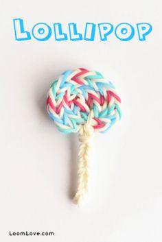 to make a Lollipop Charm - Rainbow Loom video tutorial Rainbow Loom Tutorials, Rainbow Loom Patterns, Rainbow Loom Creations, Rainbow Loom Bands, Rainbow Loom Charms, Rainbow Loom Bracelets, Loom Band Charms, Loom Band Bracelets, Loom Love