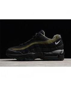 Nike Air Max 95 Hal Black Black Cargo Khaki Flat Silver Men'S Shoes Red Shoes, Men's Shoes, Mens Shoes Online, Nike Max, Air Max 95, Silver Man, Shoe Sale, All Black Sneakers, Flats