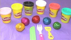 Learn colours with Glitter Play doh Learn Shapes with Cutters