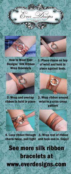 Silk Ribbon Wrap Bracelet Spell  Infinity by EverDesignsShop, $25.00