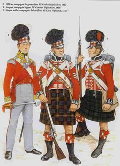 Figures left to right:- 92nd Highlanders 1812, 79th Highlanders 1815 and 42nd Highlanders 1815.