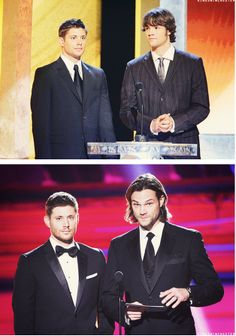 Jensen and Jared--2006/2014 It looks like Jensen's suit is a bit too big for him in the first pic xD