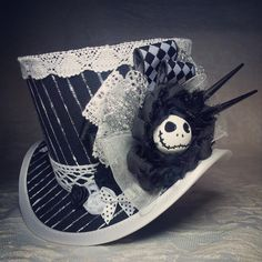 Nightmare Before Christmas, Jack Skellington, Goth hat, Steampunk Hat, Mini Top Hat, Gothic Lolita, Tea Party, Top hat, Gothic Wedding, Goth by OohLaLaBoudoir on Etsy