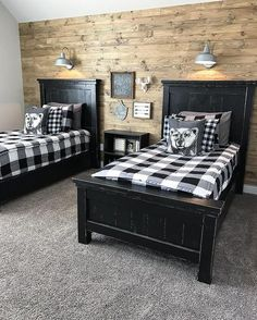 Guest bedroom shared bedroom home decorating ideas in 2019 с Boy Bedroom Design, Kids Room Design, Home, Bedroom Design, Rustic Bedroom, Boys Bedrooms, Home Decor, Rustic Kids Rooms, Room