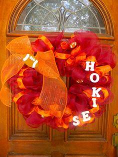 Virginia Tech Hokies Deco Mesh Spirit Wreath  by TheMeshyMama, $50.00