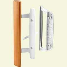 Prime-Line Surface Mounted Sliding Patio Door Handleset at Lowe's. This sliding patio door handle set is constructed of white painted diecast materials and a wooden handle finished in a light stain. The handle set is Best Sliding Glass Doors, Sliding Door Handles, Barn Door Handles, Door Pull Handles, Sliding Patio Doors, Wooden Handles, Screen Door Hardware, Screen Door Latch, Screen Doors