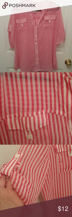 "Sheer pink and white sparkle stripe shirt Pink and white striped shirt with tiny gold ""sparkles"" (dots). This shirt is sheer without a lining. Very vibrant. It is a Chico's size 2 which is a large/12. It is in excellent condition. Chico's Tops Blouses"