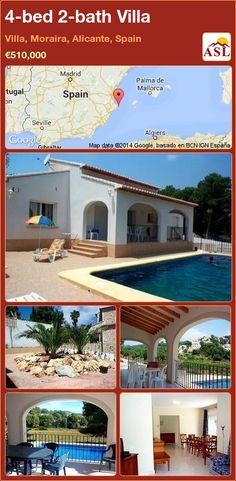 4-bed 2-bath Villa in Villa, Moraira, Alicante, Spain ►€510,000 #PropertyForSaleInSpain