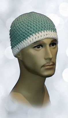 Crochet Skull Cap, Chemo Hat,  Unisex Toboggan, Adult Beanie, One Size Fits Most, Seafoam and White by Handmadecrafter on Etsy
