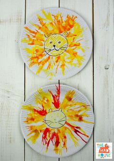How to make a own Blow Art Paper Plate Lion. A fab kids craft and process art activity that is fun to make and looks adorable.