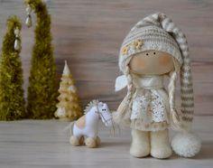 Tiny Tot Poppy-Christmas Present-Textile Doll-Fabric Doll-Rag Doll-Home Decoration-Interior Doll-Christmas Gift-Christmas Doll-Winter Decor
