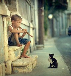 Beautiful music from a small boy on his door step