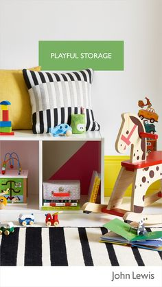Used for storing away toys and games, try placing these cube shelves on the floor – they provide some extra seating for you to perch, or even a handy surface for colouring and crafts. To make your playroom or nursery unique, why not paint inside the blocks or use wall stickers to add colour for an easy to change look.
