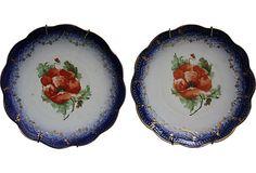 La Francaise Flow Blue Plates, Pair Blue Dishes, Blue Plates, Vintage Market, Pie Dish, Vintage Furniture, Flow, Blues, Tableware, Pretty