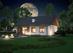 Miarodajny - wariant X Small House Design, Home Design Plans, Home Fashion, Bungalow, Shed, Villa, Exterior, Outdoor Structures, Mansions