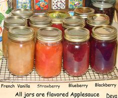 Home canned applesauces woth other fruits.  Also made a cherry applesauce.