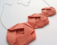 Origami Jewellery Origami Necklace Asymmetric Necklace Origami Roses: Fabric Rosettes on Sterling Silver Chain Necklace Origami Jewellery