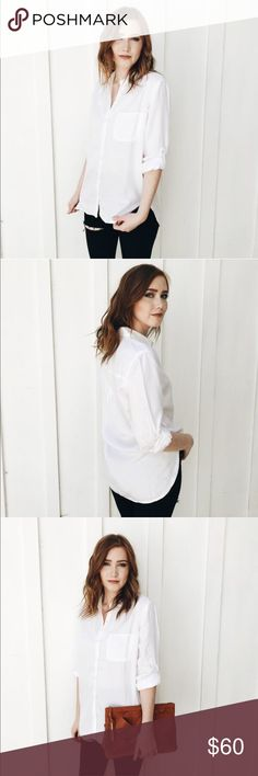 White Button Down Tencel Sneak Peek Carly Jean LA Brand new, without tags. I love this shirt but I work with kids and teach them how to cook.....so white is not for me 😭 this top is made of 100% tencel which means it's not only super cozy, but it will last forever! Sleeves that can roll up and be secured by a button. Not see through at all with a nude bra. Great find and I can't wait to give it a more loving home. Sneak Peek Tops Button Down Shirts
