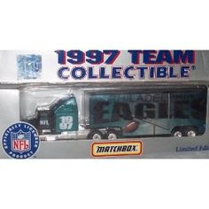 Philadelphia Eagles NFL Diecast 1997 Matchbox Tractor Trailer Football Team Truck White Rose Collectible Car by NFL  $19.39
