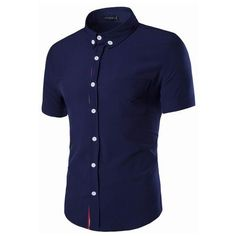 Mens Slim Fit Solid Color Turn-down Collar Short Sleeve Cotton... (1525 DZD) ❤ liked on Polyvore featuring men's fashion, men's clothing, men's shirts, men's apparel, mens summer shirts, mens clothing, slim fit mens clothing and mens slim fit dress shirts