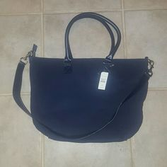 NWT Talbots suede tote. navy tote with beige interior.  Has a removable shoulder strap. Talbots Bags Shoulder Bags